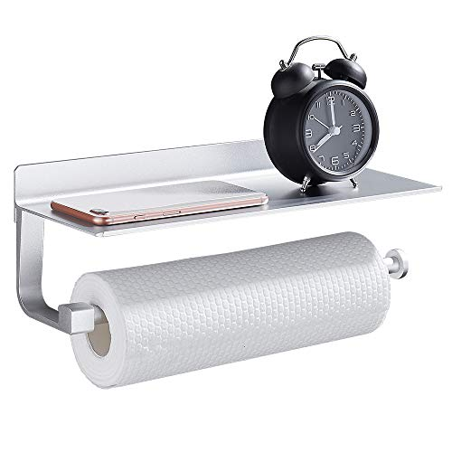 Wopeite Estantes Adhesivos Cocina Portarrollos baño de Papel de Cocina con Estante para paños o Soporte para móviles, Dispensador, Instalación sin Taladro
