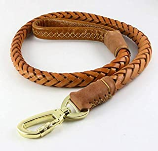 OCSOSO Durable 3.6ft Long Brown Genuine Leather Braided Pet Dogs Leash Training Lead for Large Dogs with Soft Handle 1Inch Wide