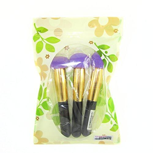 DOLOVEMK Lot de 3 éponges de maquillage sans latex pour application de fond de teint et poudre 50 g Longueur environ 13,5 cm Violet