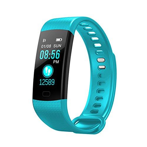 YHLVE - Pulsera inteligente con Bluetooth, monitor de frecuencia cardíaca para niños, mujeres y hombres, 0.11, color azul celeste