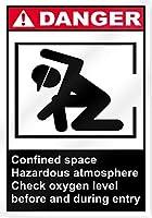プライベートサインイン、閉所での危険な雰囲気の危険サイン、ブリキの壁のサインレトロな鉄の絵画バーカフェストアホームヤードのヴィンテージメタルプラーク装飾ポスター