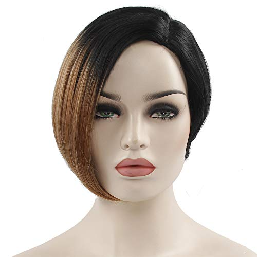 10inch Short Wigs for Black Women Ombre Bob hairstyle Synthetic Pixie Cut Wigs High Temperature Fiber(1B/30)