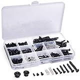 Facmogu Kit de tornillos de guitarra con muelles para puente de guitarra eléctrica, pastilla, golpeador, afinador, interruptor, placa de cuello, botones de correa de guitarra, color negro