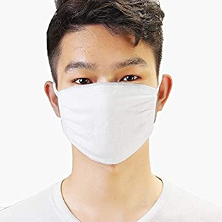 BSD Organics Safety Face Mask 5 Piece - White Organic Cotton Face/Surgical Mask, Washable and Reusable w/Adjustable Straps