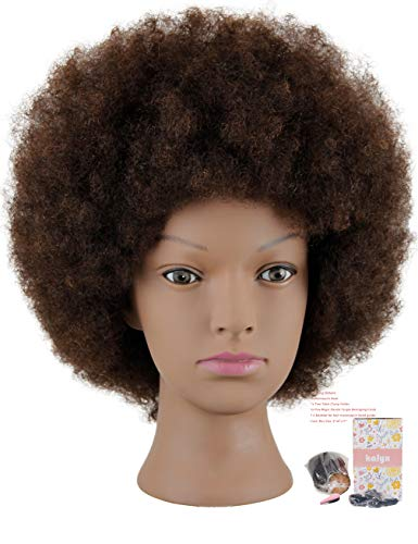 Kalyx Mannequin Head African American with 100% Human Hair Cosmetology Afro Hair Manikin Head for Practice Styling Braiding