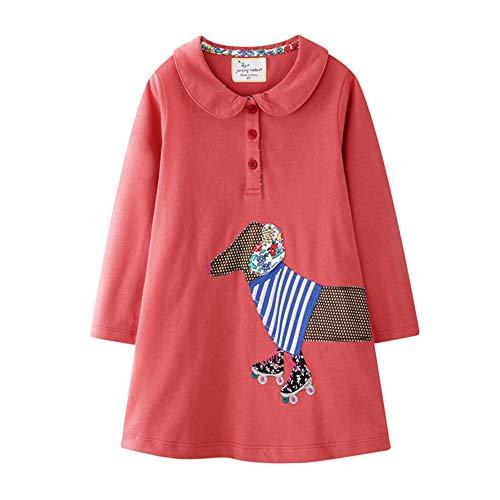 2-7T niña manga larga vestido muñeca cuello bordado montar a caballo trajes para primavera otoño ropa casual