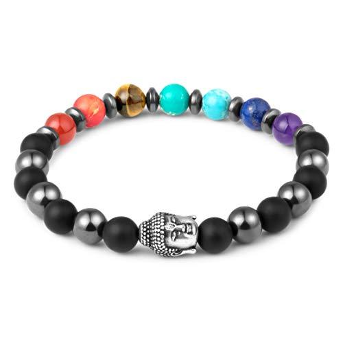 Karseer Buddha Anxiety Stress Relief Bracelet Natural Crystal Onyx Healing Stone Magnetic Hematite 7 Rainbow Chakra Energy Balance Bracelet Yoga Mala Meditation Prayer Elastic Beaded Bracelet Jewelry