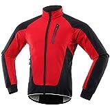 Chaqueta Ciclismo Hombre Invierno Polar Térmico, Impermeable Prueba de Viento Bicicleta Jackets Reflectante Alta Visibilidad Cortavientos,Rojo,XL