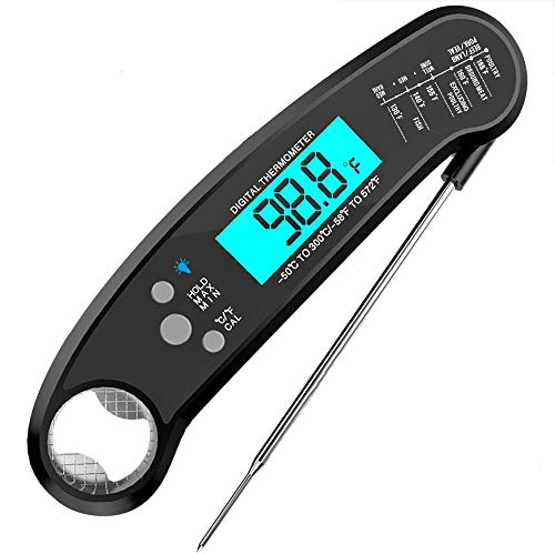 Instant Read Meat Thermometer Waterproof Ultra Fast Cooking Thermometer with Bottle Opener Backlight and Calibration Digital Food Thermometer for Kitchen Outdoor Cooking BBQ and Grill
