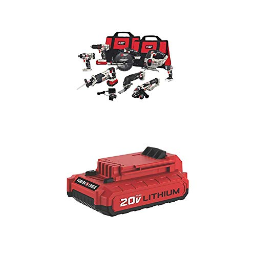 PORTER-CABLE PCCK619L8 20V Max 8-Tool Combo Kit with PCC682L 20V MAX 2.0 Amp Hour Battery