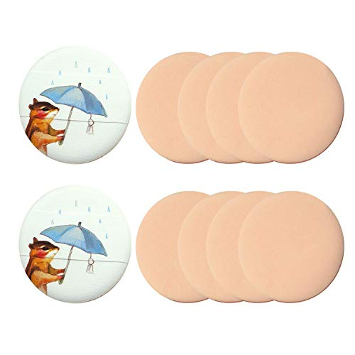 コスメ 湿式パフ メイクスポンジ PUFF 詰め替え用 パフ・スポンジ エアパフ(10枚セット) (狐模様)