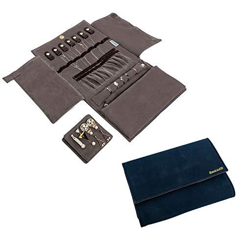 Becko Schmucktasche aus Flanell und Leder Schmuckaufbewahrung Organizer Jewelry Box für Ohrring Fingerring Halskette und mehr (20.5 * 15 * 2 cm) - Dark Blue