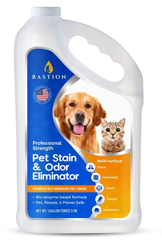 Pet Stain Remover & Odor Eliminator - One Gallon- Professional Strength Formula - Enzyme Powered Carpet Cleaner Solution - Natural Deodorizer - Bio-enzymatic - Dog, Cat Urine Destroyer - Dye Free
