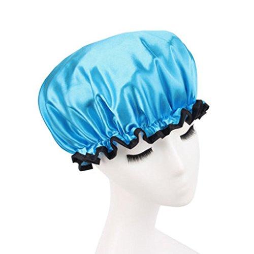 Design élégant de douche imperméable Double Layer Cap Spa bain Caps, Blue