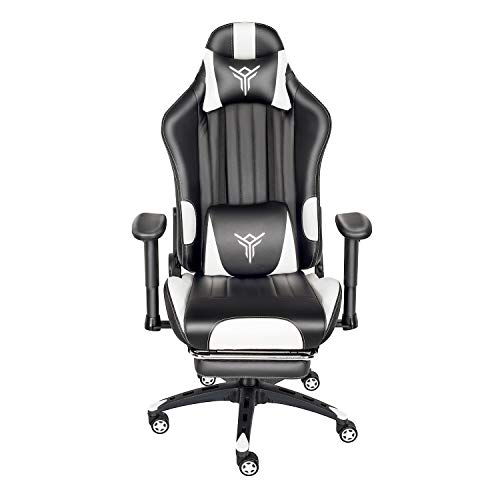 PULUOMIS Gaming Chair Massage, Grey Swivel Computer Chair with Footrest, Lumbar Support & Headrest, Adjustable Ergonomic Video Gaming Chair for Adults(White)