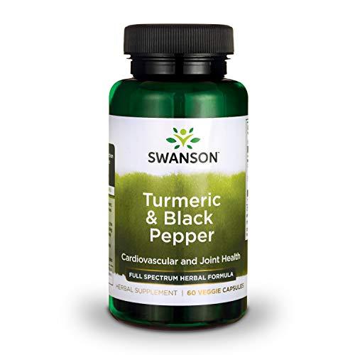 Swanson Turmeric and Black Pepper Organic Antioxidant Joint Cardiovascular Liver Detox Support Supplement for Better Absorption (Curcuma Longa 600 mg and Piper nigrum 5 mg per Serving) 60 Veg Caps