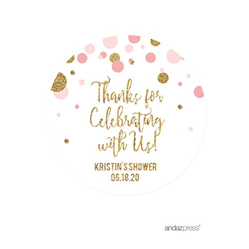 Andaz Press Blush Pink Gold Glitter Girl Baby Shower Party Collection, Personalized Round Circle Label Stickers, Thank You for Celebrating With Us, 40-Pack, Custom Name
