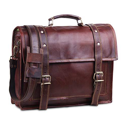 Vintage cuero portátil Bolsas para hombres Full Grain Large Messenger Bag para hombres 18 pulgadas con aspecto rústico mejor maletín de cuero