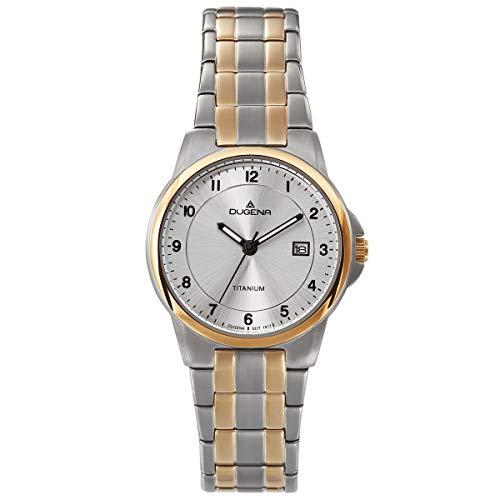Dugena Damenuhr Titan mit Titan Glieder Armband Datum Bicolor 4460915