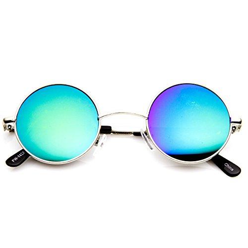 zeroUV - Retro Round Sunglasses for Men Women with Color Mirrored Lens John Lennon Glasses (Silver/Blue-Green)