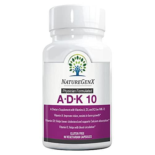 NatureGenx - Vitamin ADK 10 - High Potency Vitamins A, Vitamin D3, Vitamin K2 (90 Capsules - 3 Months) - Daily Vitamins A D K Pills