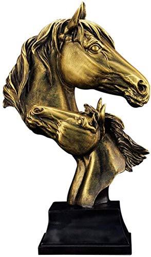 YXYSHX Escultura Decoración Escultura Bustos Esculturas Retro Estatuas de Cabeza de Caballo Animales Resina Artesanía Decoración del hogar Adornos para Sala de Estar