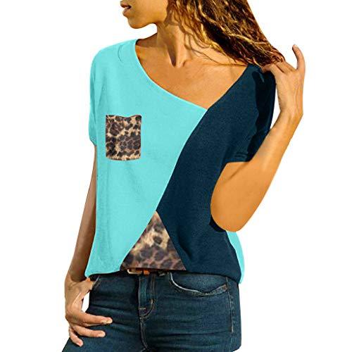 VJGOAL dames casual patchwork kleurblok korte mouwen T-shirt asymmetrische V-hals korte mouwen tops tuniek top trui blouse bovendeel
