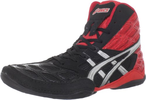 ASICS Men's Split Second 9 Wrestling Shoe,Red/Silver/Black,8 M US
