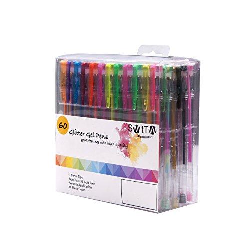 SMTTW カラーペン ジェルボールペン 蛍光ペン 水性ペン 多色ペン カラフルペン 中性 塗り絵用 子供&大人の塗り絵 1.0mm 60色セット … (60)