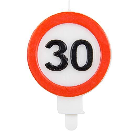 Vela de cumpleaños Party Collection vela 30 en forma de señal de tráfico 6x8.5cm