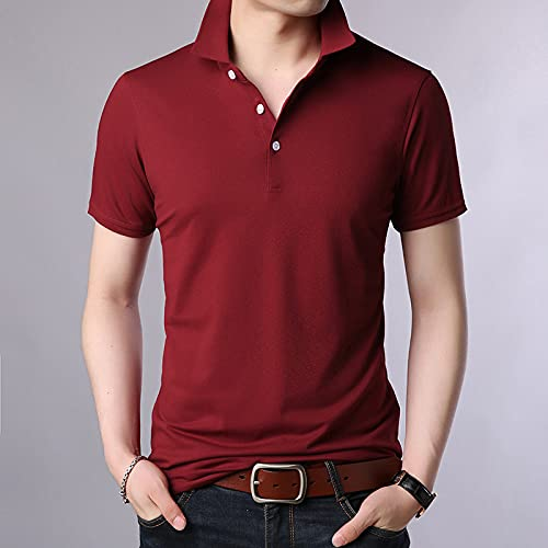 FDJIAJU Kurzarm Polo T Shirts Für Herren - Summer Plain Mens Fit Basic Turn Down Collar Polo Shirt Short Sleeve Casual Quick Drying Tops Fashions Fashion Clothing,Red,L
