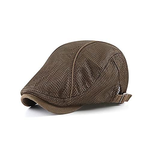 PHENHU Boina Ajustables Gorra Plana De Malla para Hombre Sombrero De Vendedor De Periódicos De Verano Transpirable Sombreros De Gatsby Irlandeses Gorras De Hiedra Cabbie Caps