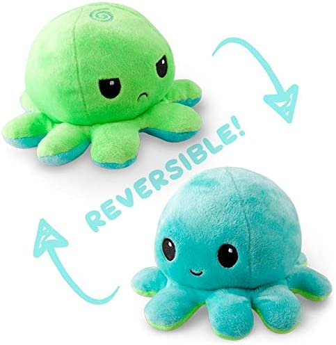TeeTurtle The Original Reversible Octopus Plushie Patented Design Green and Aqua Show your mood product image