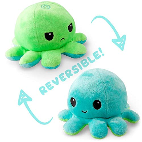 TeeTurtle | The Original Reversible Octopus Plushie | Patented Design | Green and Aqua | Show your mood without saying a word!