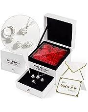 TBCWRH Rosa Eterna Natural,Rosa Preservada,Regalos dia de la madre para Ella,Caja de regalo con collar, anillo, aretes, regalo elegante para mamá esposa niñas cumpleaños aniversario compromiso