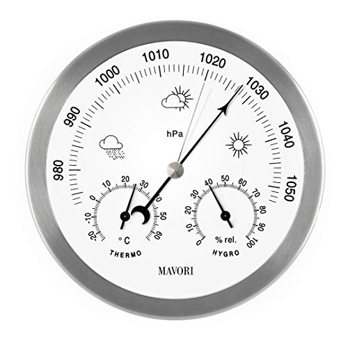 Estación meteorológica analógica MAVORI® para interiores y exteriores con estructura de acero inoxidable, diseño elegante, compuesta de barómetro, higrómetro y termómetro