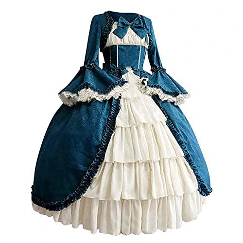 Dasongff Steampunk - Vestido de cóctel para mujer, otoño, invierno, maxi vestido medieval, gótico, retro, patchwork, retro, gótico, encaje, manga trompeta, vestido de fiesta, estilo palacio