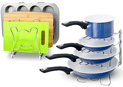 2 Pack - SimpleHouseware Kitchen Cabinet Pan and Pot Cookware Organizer Rack Holder, Chrome
