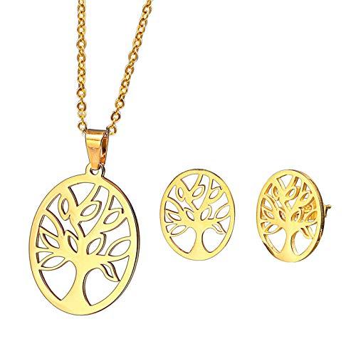 Daesar Conjunto de Mujer Árbol de la Vida Hueca Juego de Joyas Collar Pendientes Oro