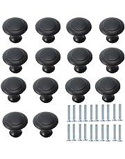 DBAILY Schuiflade knoppen, 30 stuks kastknoppen met schroeven, permanente paddenstoelkop, deurknoppen voor kast, kantoor, lade, deurknoppen, meubelknop (zwart) (blauw)