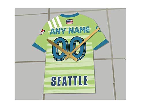 MyShirt123 Fußball-Trikot-Uhr – MLS – jeder Name, jede Nummer und jedes Team – die Wahl ist Sie. !, Acryl, Seattle Sounders FC MLS Fußballtrikot., 175 MM X 150 MM X 10 MM