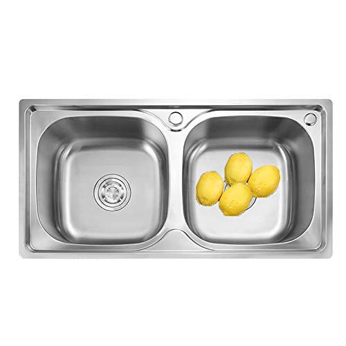 WWSZ Fregadero Cocina 2 Senos de Acero INOX,Fregadero Cocina Dos Senos sobre encimera o enrasado, fregaderos Cuadrado de Acero Inoxidable con 2 Orificios y Rebosadero