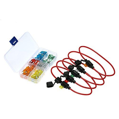 KKmoon 5 Pack Sicherungshalter + 120 Stücke Mini Blade Sicherungen für Auto Lkw Motorrad APM ATM
