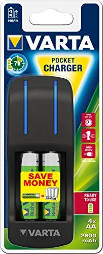 VARTA Pocket Charger - Cargador de Pilas NiMH AA y AAA (4x AA 2600 mAh Incluidas)
