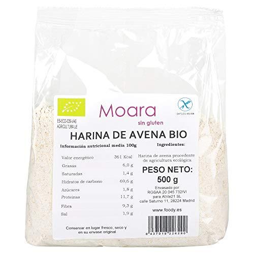 Harina de avena integral y neutra, BIO sin gluten y sin azúcar - Harina de avena ecológica sin sabor, ideal para repostería y recetas fitness - Otmeal flour vegana 500gr