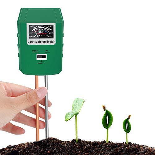 Bearbro Monitor de Agua del Suelo,Medidor de Humedad del Suelo,Medidor Digital 3 en 1 de la Humedad del Suelo y la acidez del PH, para Planta/Jardín(No Necesita batería)