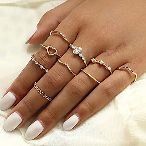 Simsly - Set di 10 anelli con pietre preziose e cristalli dorati, per donne e ragazze, Lega,