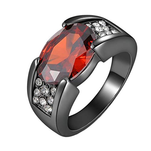 HUAMING Unisex Fashion Black Gun Color Ring Black Gold Ring Inlaid Ruby Ring Gothic Ring Cool Punk Rings Knuckle Rings (Red, 8)