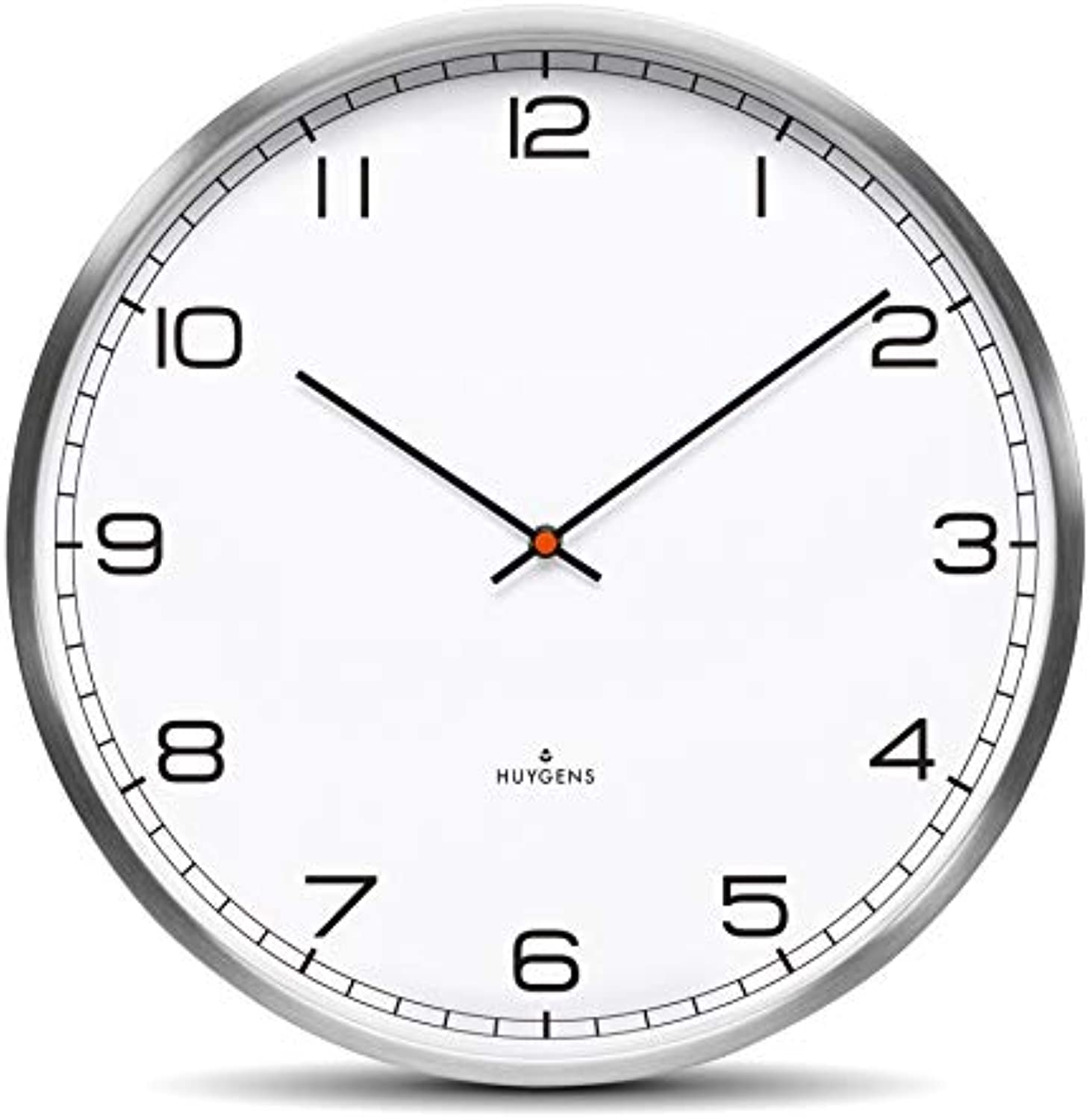 Huygens - One45 - Silent - Wall Clock - Stainless Steel - Weiß - Arabic - Large - 45 cm