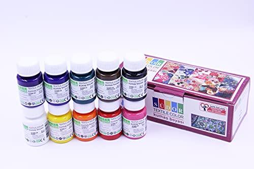 SÜDOR Pintura textil resistente al lavado | Set de 10 x 25 ml colores tejidos lavables en frasco | Lavable hasta 40 °C | para pintura e impresión de tela | Ideal para pintar camisetas